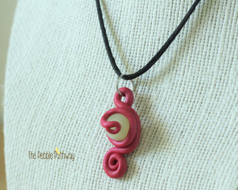 Pink tentacle Necklace with off white bead - ThePebblePathway