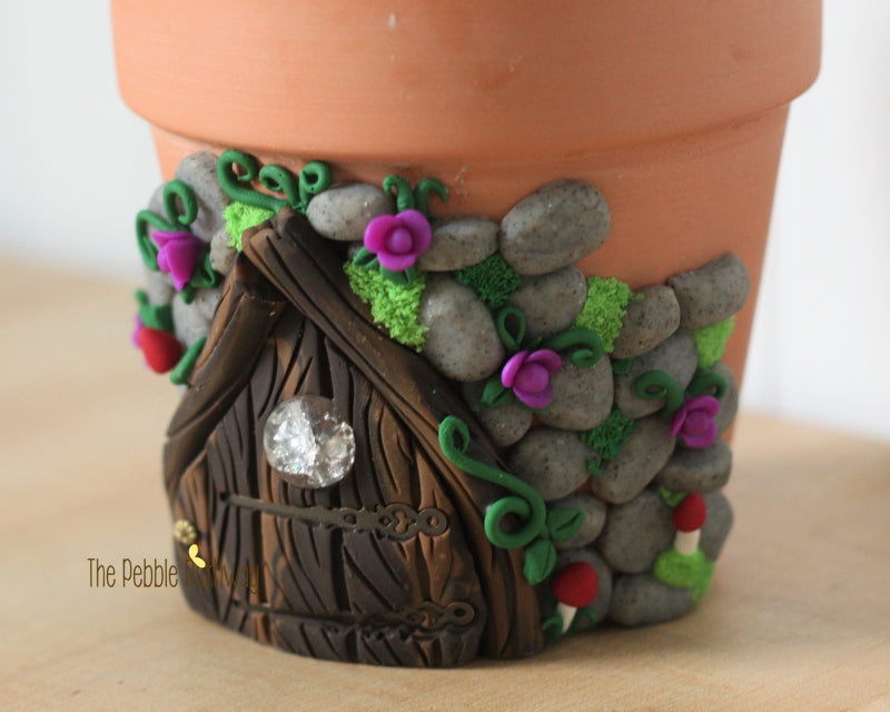 Small Terra Cotta Pot Planter with Fairy Door - ThePebblePathway