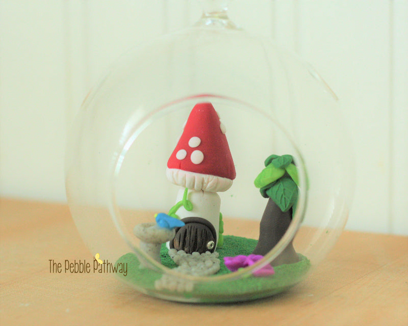 Fairy garden in terrarium - Mushroom House, birdbath, purple flowers! Gnome home, miniature garden