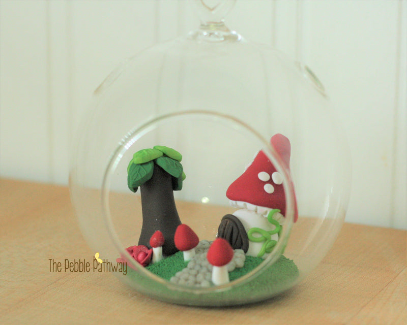 Fairy garden in glass terrarium - Mushroom House with tree and mushrooms! Gnome home minature garden - ThePebblePathway