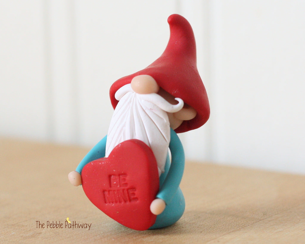 Valentine Gnome holding Be Mine Heart - Love Gnome - ThePebblePathway