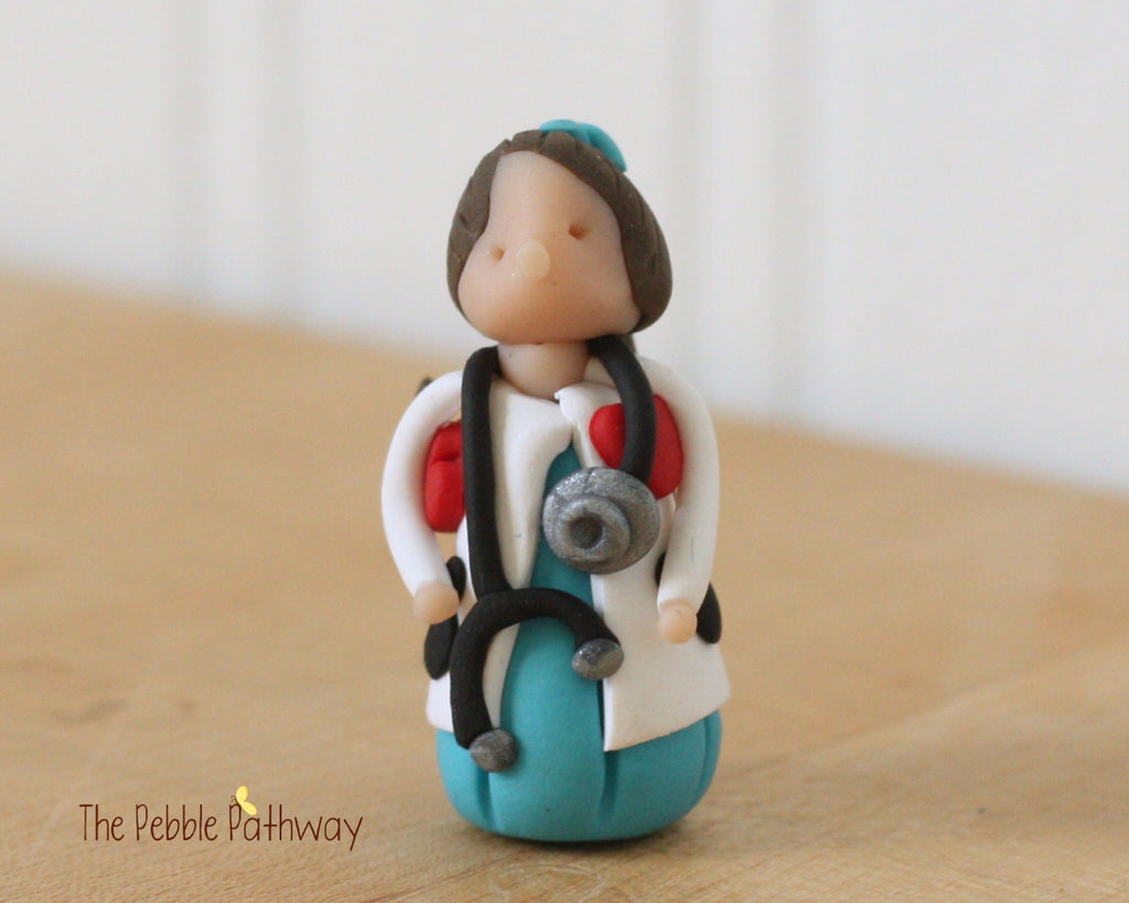 Girl Veterinarian Fairy brown hair - Gift for Veterinarian or Aspiring Veterinarian - ThePebblePathway