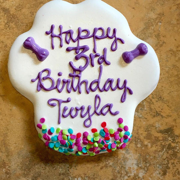 Personalized Birthday Paw Cookie