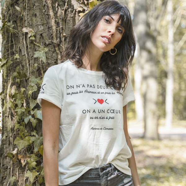 "T-shirt en coton bio made in France Citation ""On n'a pas deux cœurs"""