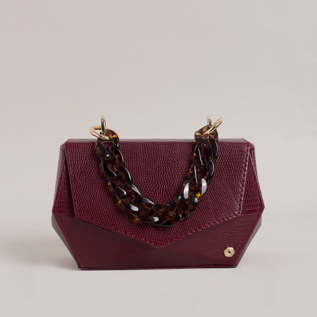 Hexella Clutch Oxblood Lizard