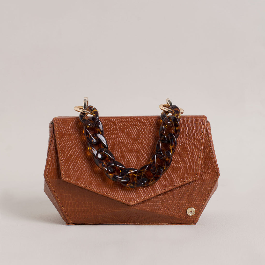 Hexella Clutch Tan Lizard