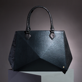Hexella large tote chrome black