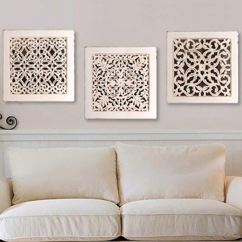 Wall Art Set Of 3 white fretwork wall art : set of 3 – summer rain store