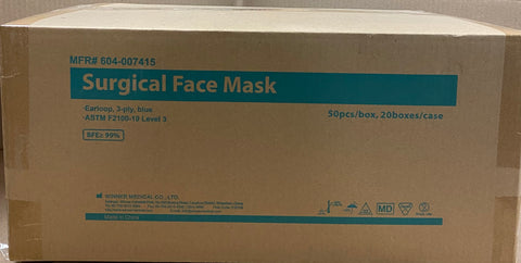 Case of Level 3 Surgical Masks- FDA Approved (20 boxes of 50= 1000 masks)