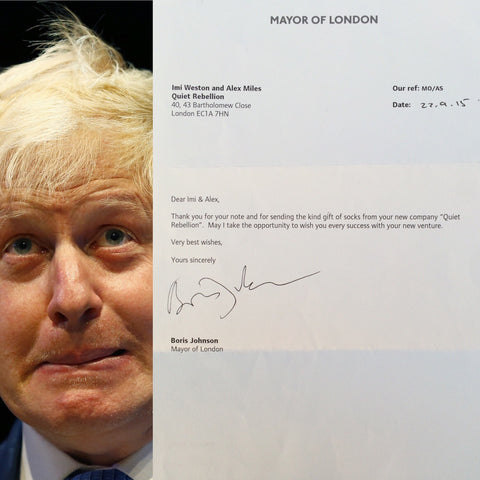 Boris Johnson supports Quiet Rebellion socks