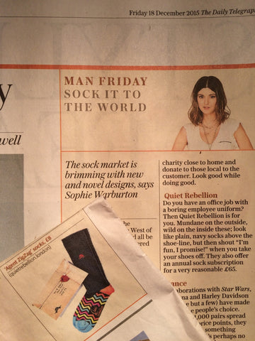Quiet Rebellion socks in The Daily Telegraph