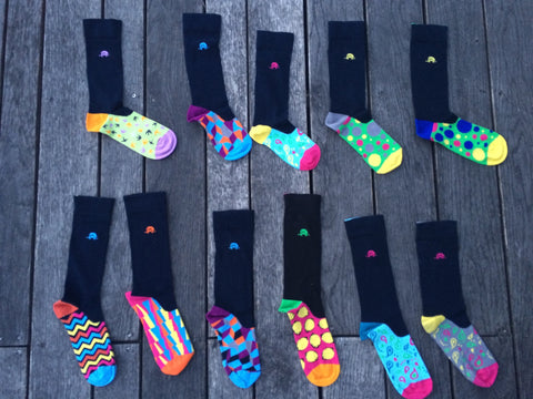 Multicoloured and striped patterned luxury combed cotton Quiet Rebellion socks for fun at work and in the office
