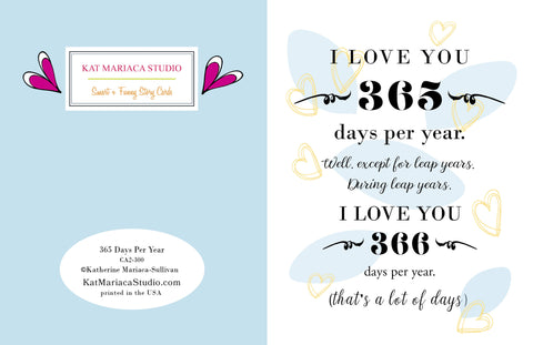 I Love You 365 Days Per Year from Postal Notes Greetings