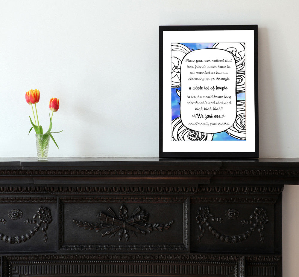 A Whole Lot of Hoopla - Blue - Matted Art Print for Best Friend