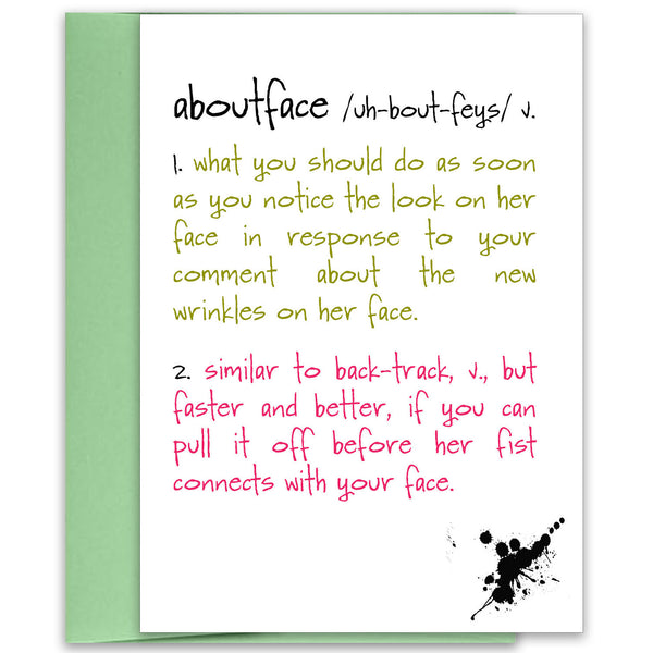 Funny Birthday Card for Friend - Aboutface - KatMariacaStudio - 1