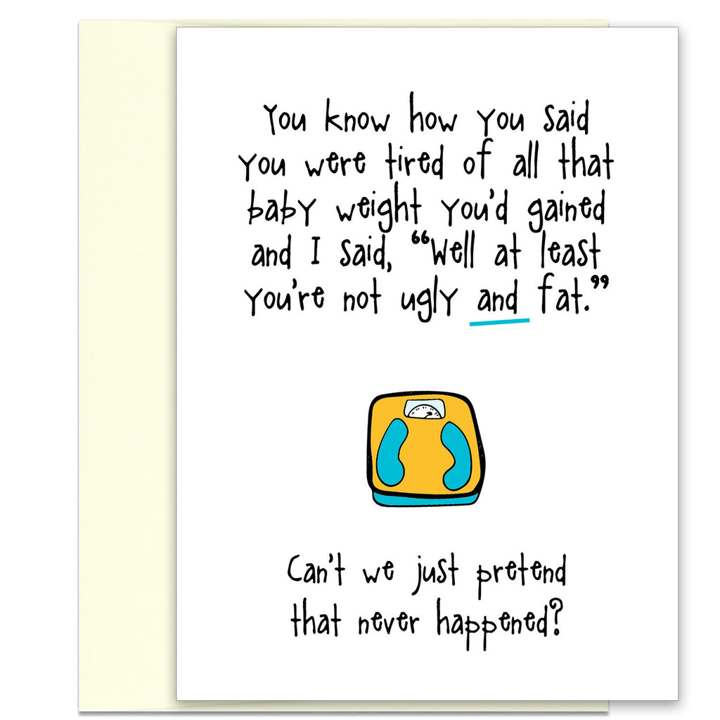 Funny Maternity & New Baby Card - All That Baby Weight - KatMariacaStudio - 1