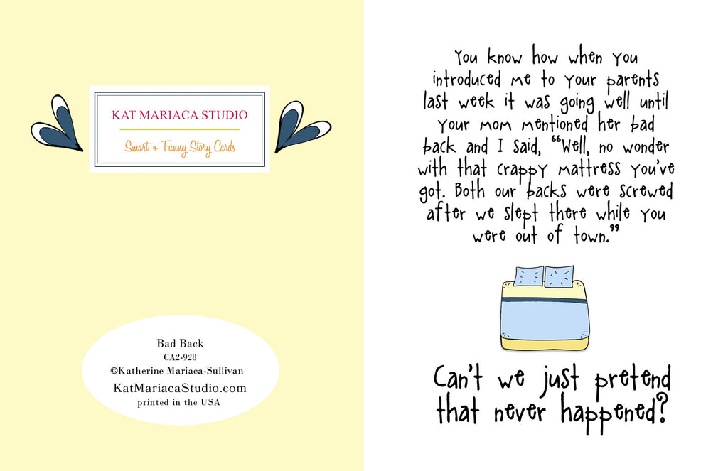 Bad Back - An Awkward Relationship Greeting Card - KatMariacaStudio - 2