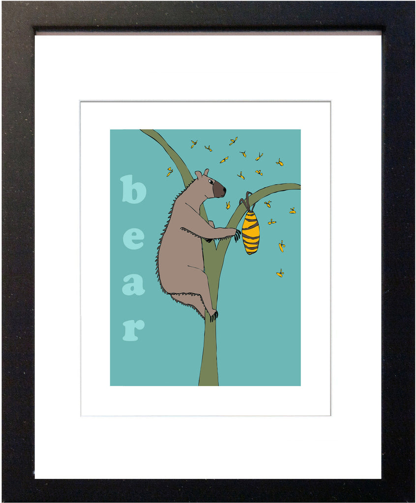 Bear - Modern Nursery Room Art - Matted Art Print for Kids