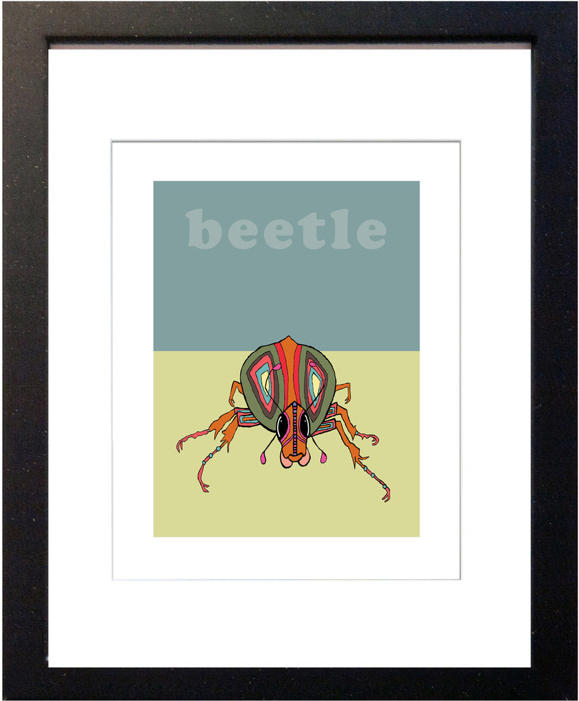Beetle - Modern Nursery Room Art - Matted Art Print