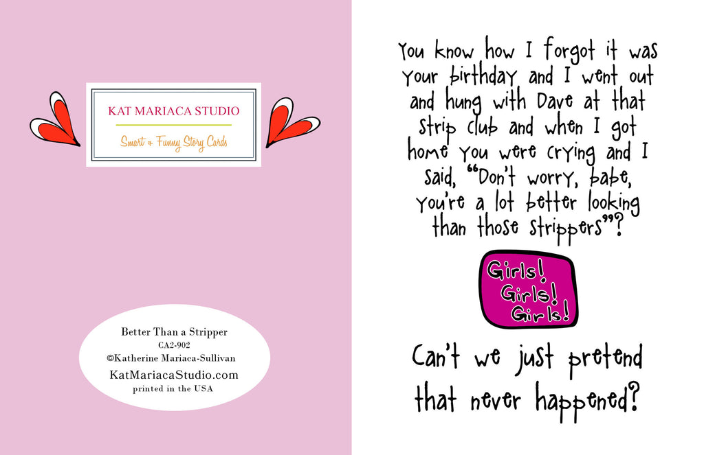 Funny Birthday Card for Friend - Better Than a Stripper - KatMariacaStudio - 2