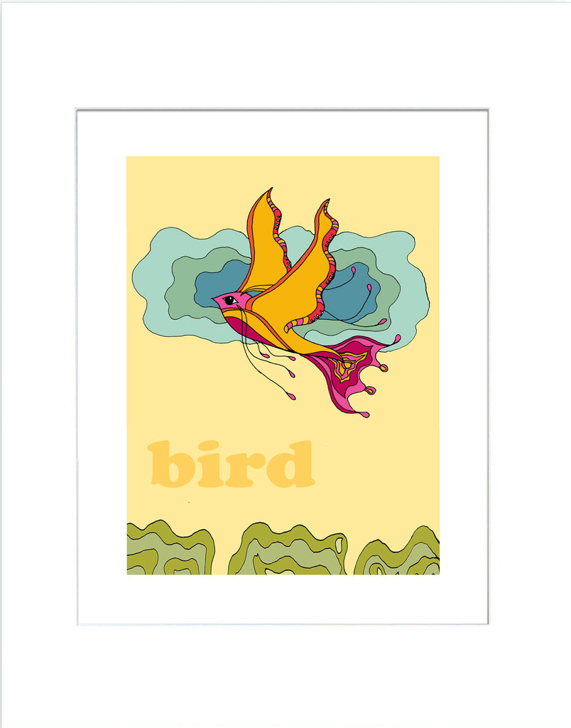Bird - Modern Nursery Room Art - Matted Art Print - KatMariacaStudio