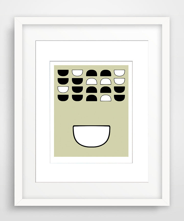 Bowls in Black & White - Matted Mid Century Modern Art Print