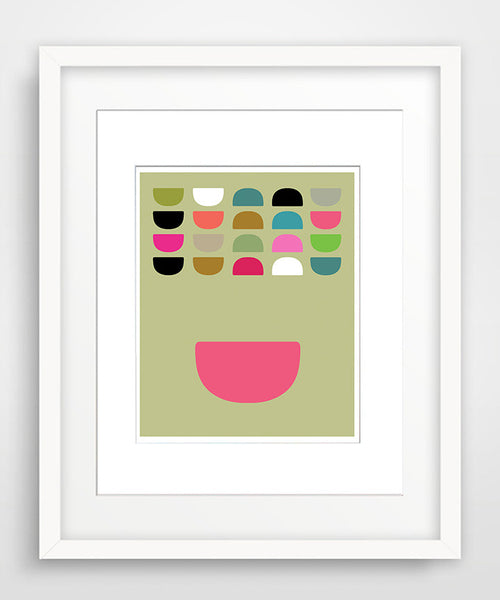 Bowls in Color - Matted Mid Century Modern Art Print