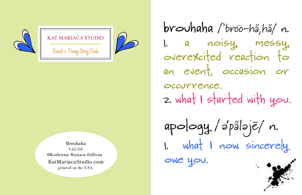 Brouhaha - A Humorous Apology Greeting Card - KatMariacaStudio - 2