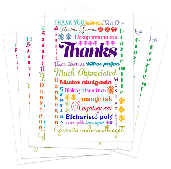 Card Set - Thank you - Multi-lingual International Thank You Cards