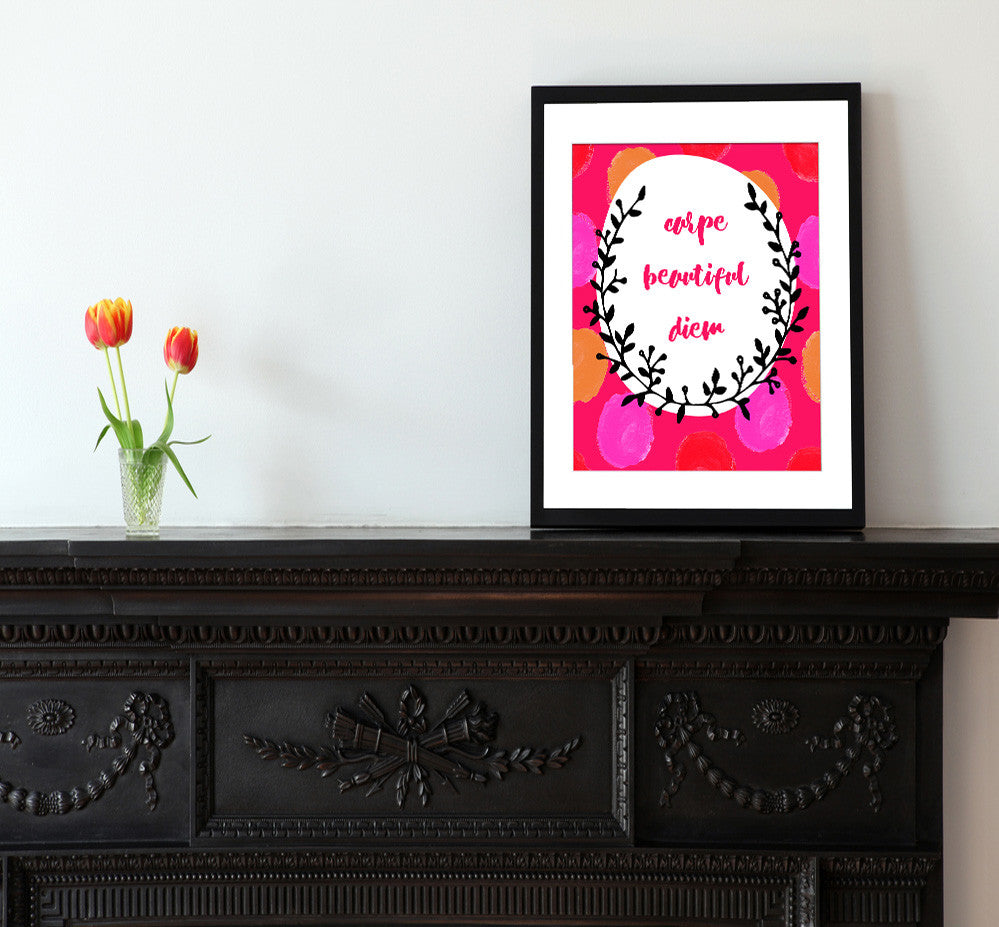Carpe Beautiful Diem - Matted Art Print - KatMariacaStudio - 2