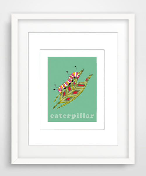 Caterpillar - Modern Nursery Room Art - Matted Art Print