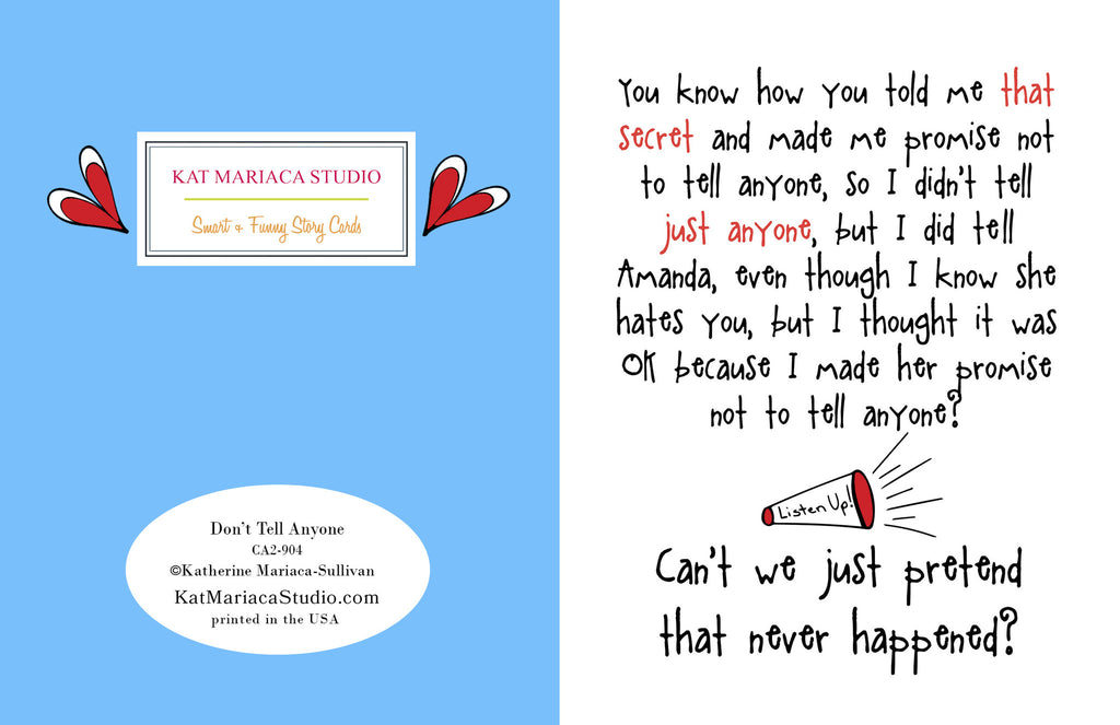 Don't Tell Anyone - Funny Card about Secrets - KatMariacaStudio - 2