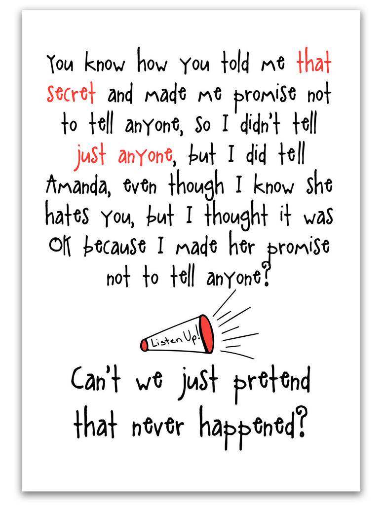 Don't Tell Anyone - Funny Card about Secrets - KatMariacaStudio - 3