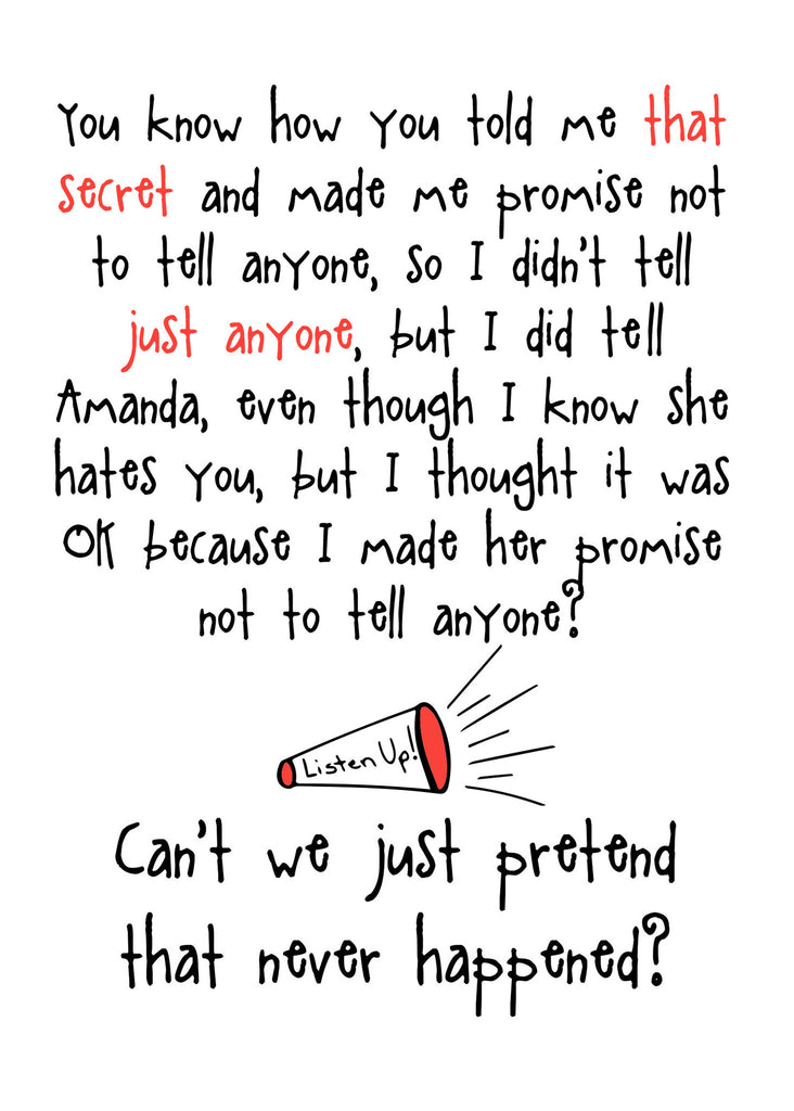 Don't Tell Anyone - Funny Card about Secrets - KatMariacaStudio - 4