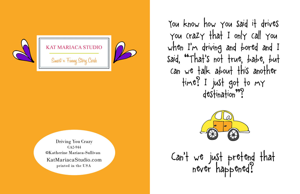 Funny Relationship Card - Driving You Crazy - KatMariacaStudio - 2