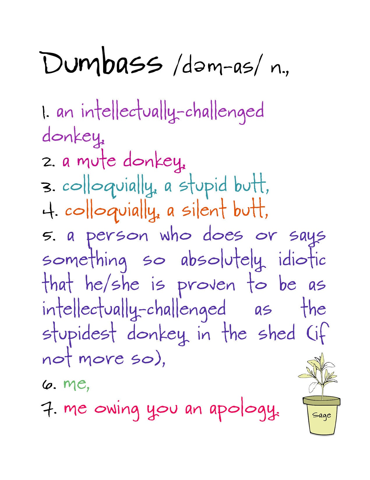 Apology card by sage street greetings dumbass kat mariaca studio dumbass a very funny apology greeting card kristyandbryce Gallery