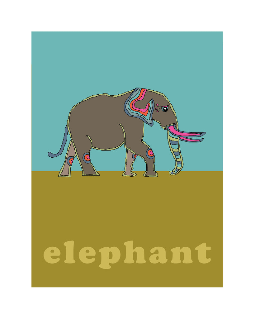 Elephant - Modern Nursery Room Art - Matted Art Print