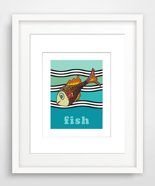 Fish - Modern Nursery Room Art Print - Matted Art Print for Kids