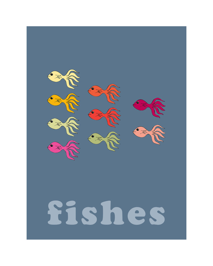 Fishes - Modern Nursery Room Art for Kids - Matted Art Print