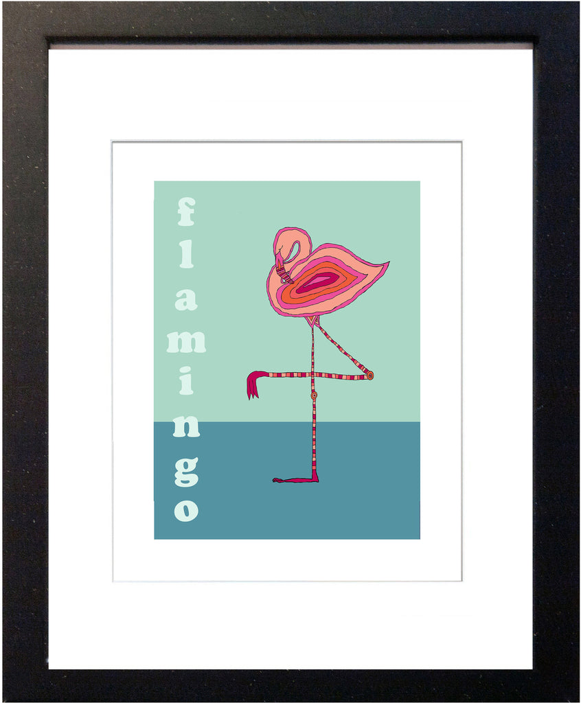 Flamingo - Modern Nursery Room Art - Matted Art Print for Kids