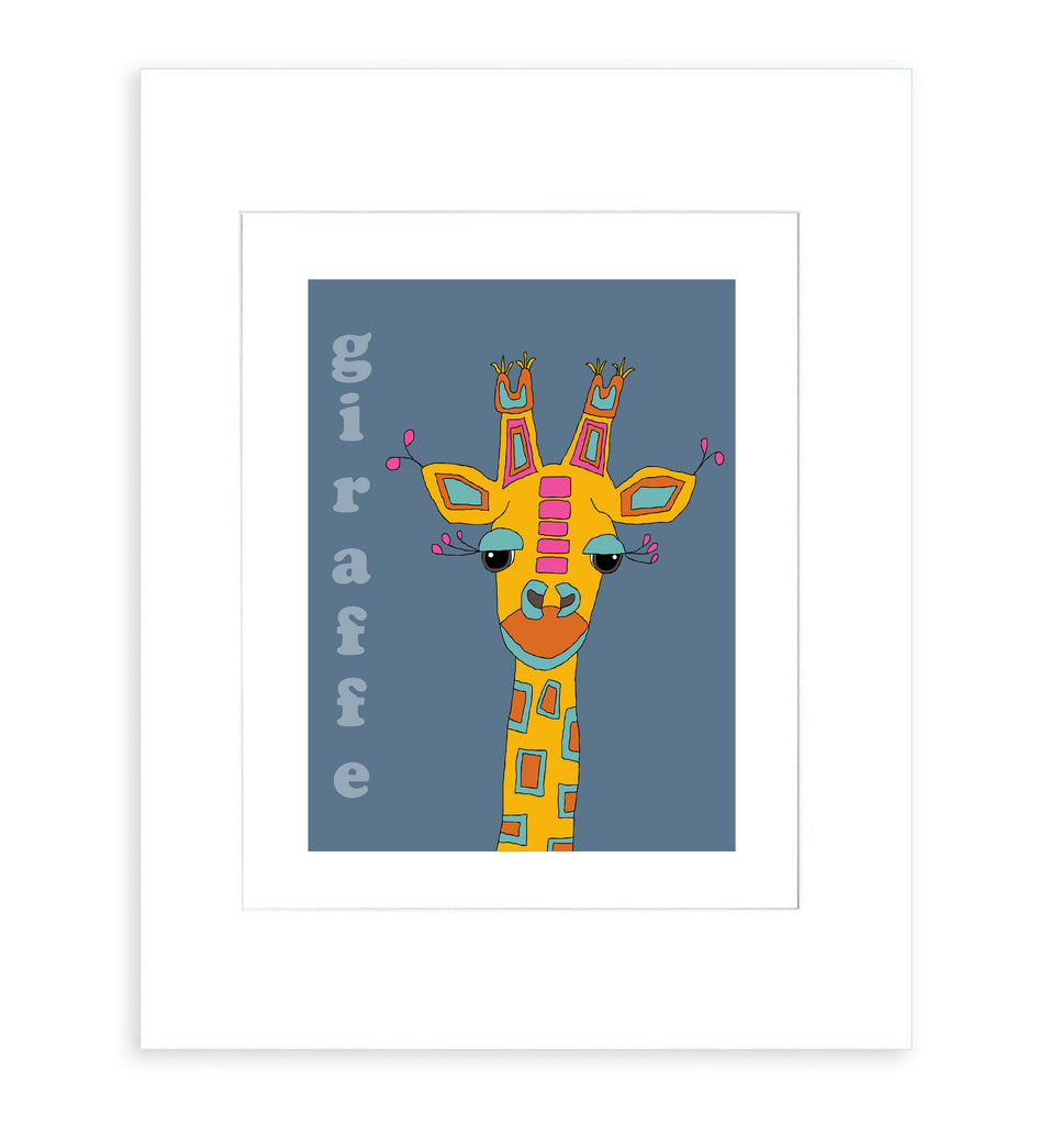 Giraffe - Modern Nursery Room Art Print for Kids - Matted Art Print