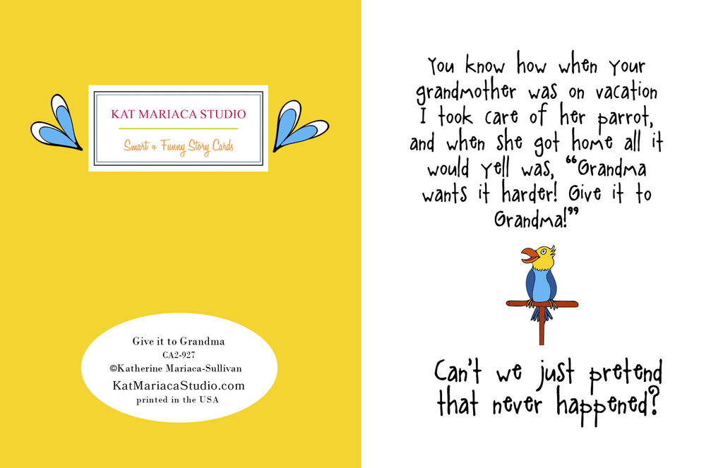 Give it to Grandma - A Silly Relationship Greeting Card for Friends - KatMariacaStudio - 2