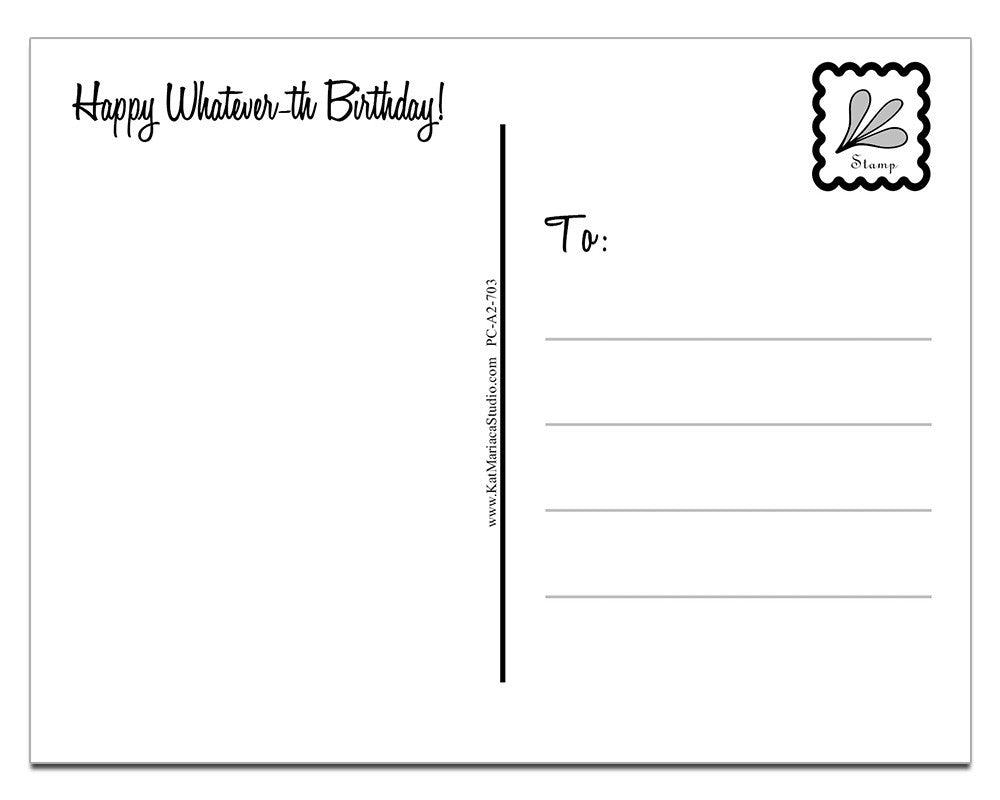 Happy Whatever-th Birthday | a Lazy Greetings (TM) Postcard - KatMariacaStudio - 4