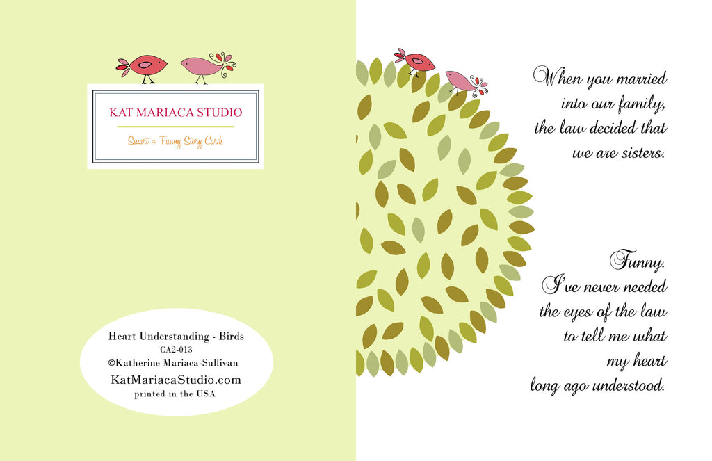Sister-in-Law Card - Heart Understanding - Birds - KatMariacaStudio - 2