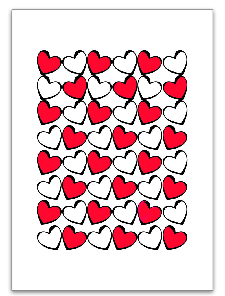 Love Card - Valentine's Card - Hearts in Red, Black & White - KatMariacaStudio - 3