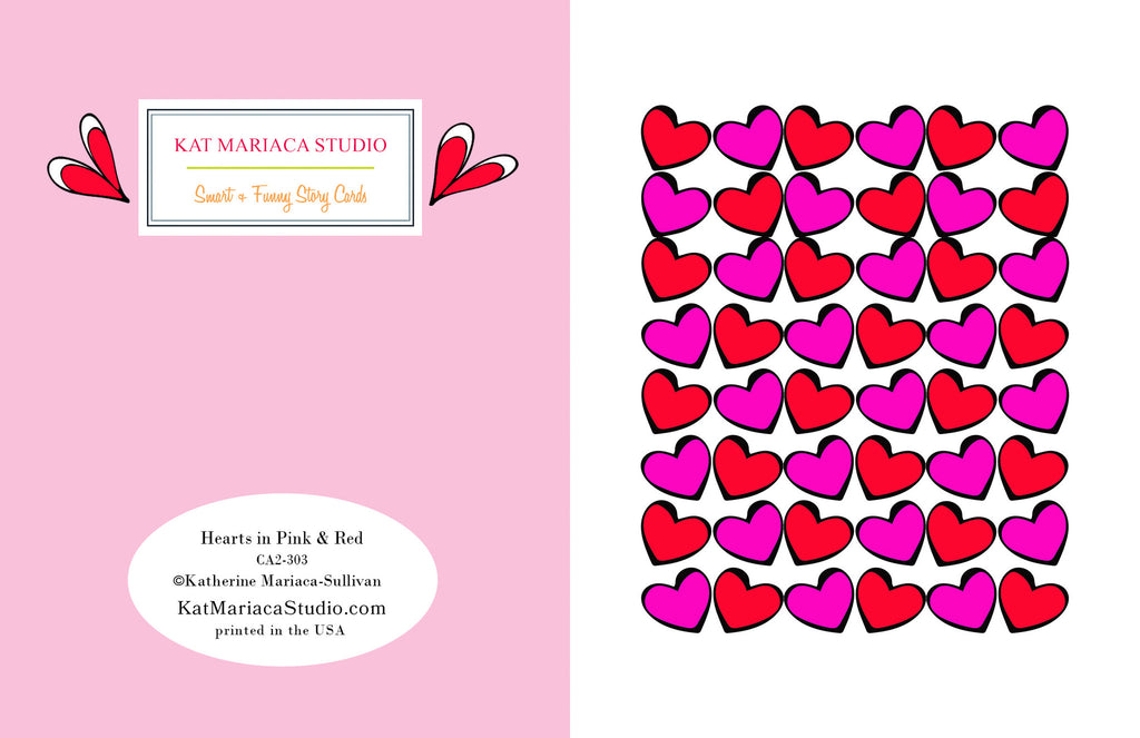 Love Hearts in Pink & Red - Valentine's Day Card - KatMariacaStudio - 2