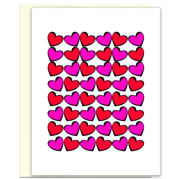 Love Hearts in Pink & Red - Valentine's Day Card - KatMariacaStudio - 1