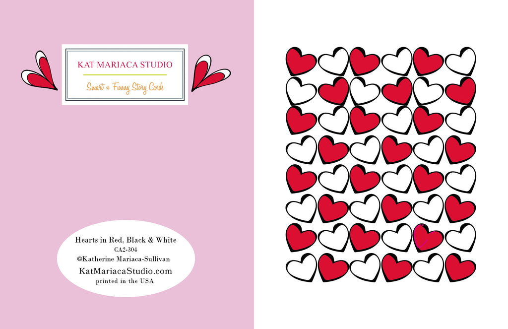 Love Card - Valentine's Card - Hearts in Red, Black & White - KatMariacaStudio - 2