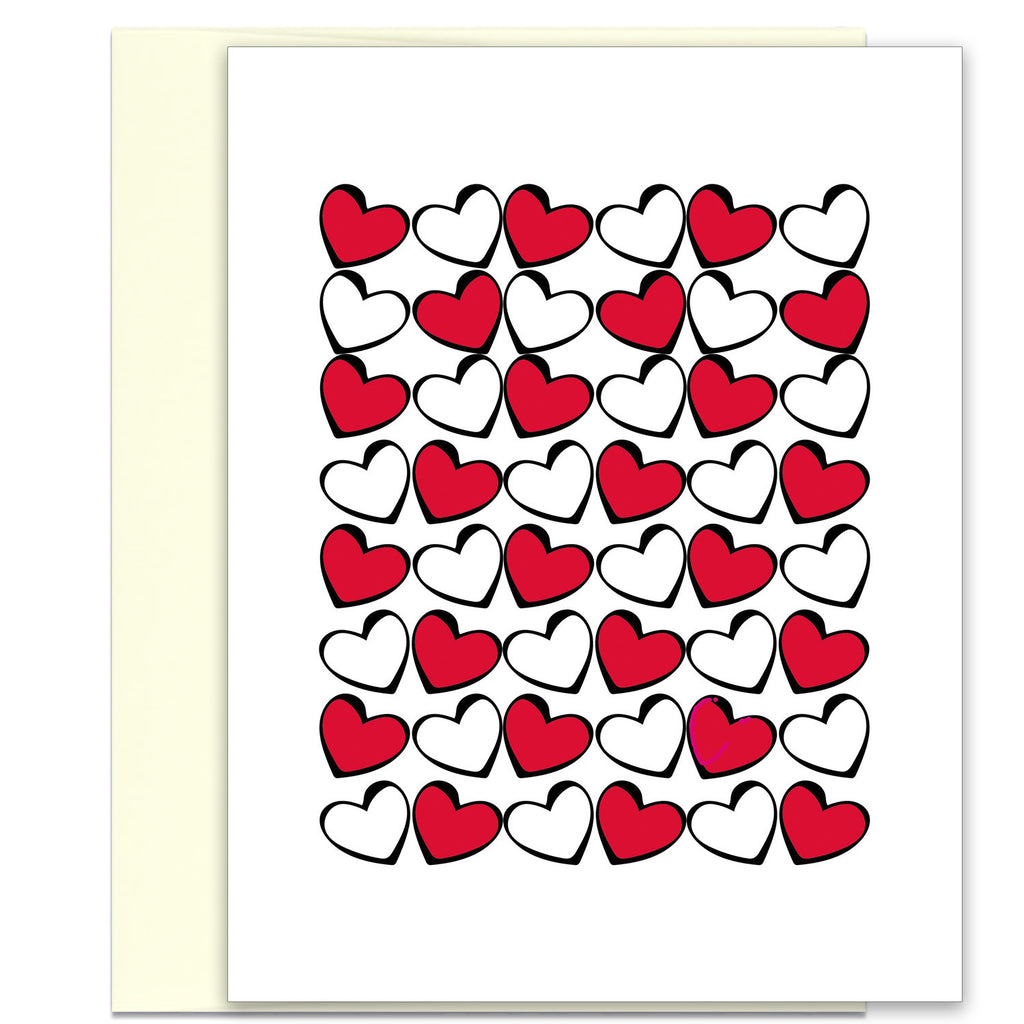 Love Card - Valentine's Card - Hearts in Red, Black & White - KatMariacaStudio - 1