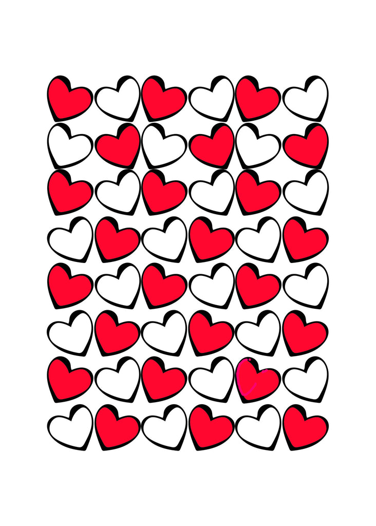 Love Card - Valentine's Card - Hearts in Red, Black & White - KatMariacaStudio - 4